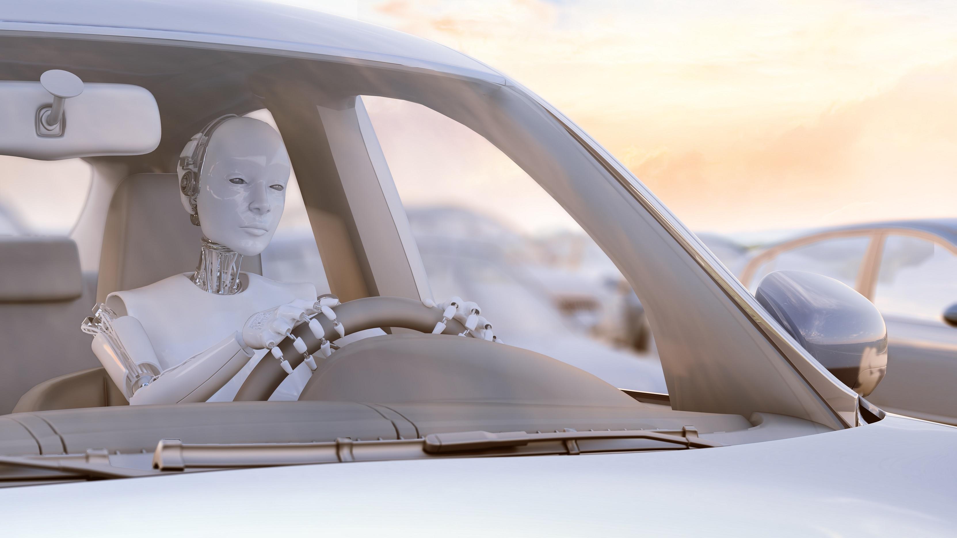 Robot Driving a Car